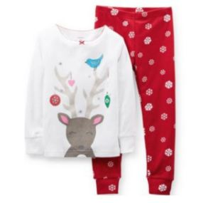 Girl′s 2-PC. Long-Sleeve Christmas Pajama