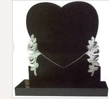 Single Heart Style Granite Headstone (CH-V-0016)