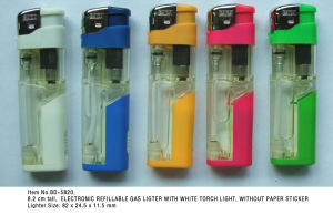 (Item No. BD-5820) Electronic Refillable Gas Lighter With LED, Baida Lighter pictures & photos
