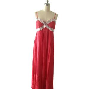 Ladies Fashion Evening Dress in Silk Ggt with Silk Satin