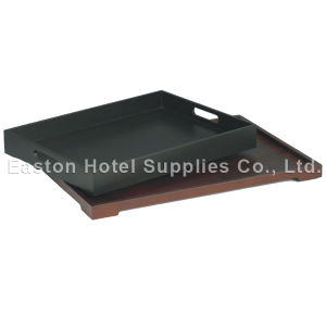 MDF Black Wooden Hotel Service Tray pictures & photos