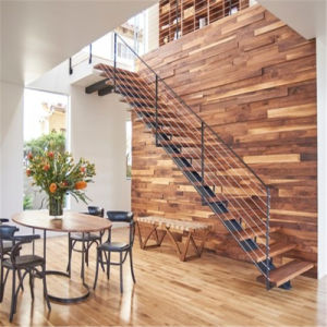 Modern Design Single Beam Staircase with Solid Wood Stair Tread and Cable Railing pictures & photos