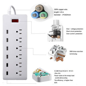 Surge Protector 6 Port Us AC Plug Outlet with 6 Ports Smart Fast USB Charger pictures & photos
