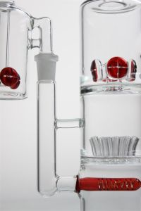 New Style Fashion Glass Smoking Pipe with Red Percolator and Hole Tree Glass Water Pipe Glass  Pipe pictures & photos