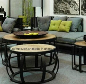 Do Old Wooden Tea Table, Wrought Iron Wood Round Tea Table, Office Sitting Room Tea Table (M-X3795) pictures & photos