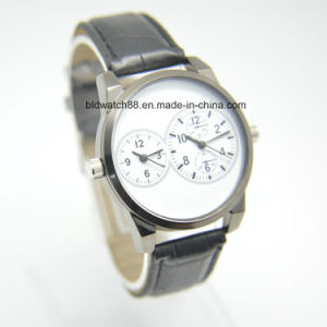 Analog Leather Band Dual Movement Watch for Men Women pictures & photos