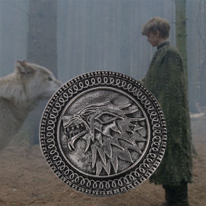 Game of Thrones Song of Ice and Fire Metal Alloy Targaryen Stark Shield Wolf Brooch Pin