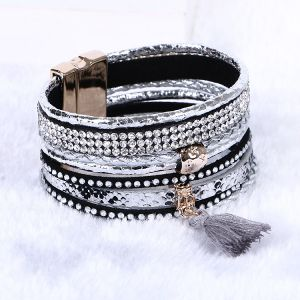 Fashion Crystal Magnetic Clasp Woman Tassel Bangle Leather Bracelet Jewelry pictures & photos