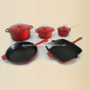 Enamel Cast Iron Griddle Pan with Handle LFGB Approved pictures & photos