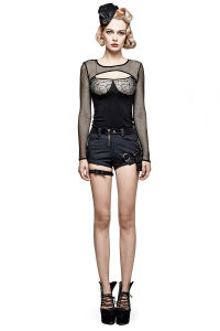 K-275 Steampunk Lady Skull Button Low Waist Striped Hot Pants pictures & photos