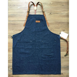 Factory Custom High Quality Blue Bartender Aprons for Bar with Leather Strap pictures & photos