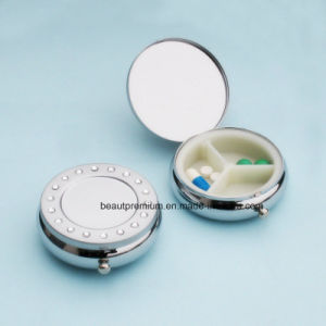 Popular Round 3 Compartments Portable Pearl Chorme Plating Pill Box BPS0230 pictures & photos