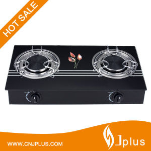 Two Burner Brass Cap Glass Top Super Ss Flame Gas Stoves (JP-GCG207S) pictures & photos