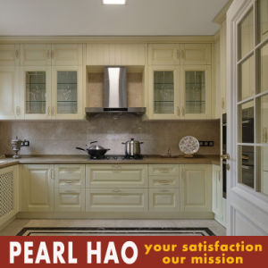 Fashion Light Yellow Solid Wood Kitchen Cabinets pictures & photos