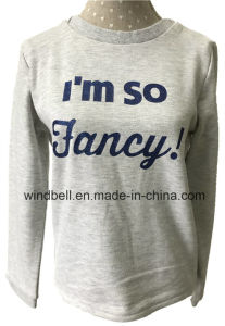 Shiny Basic Terry Sweat Pullover for Kids with Glitter Print pictures & photos