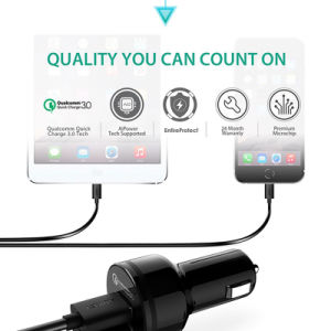 Aukey Car Charger Dual USB Qualcomm Quick Charge 3.0 Fast Car-Charger Support 5V/9V/12V for Xiaomi LG Meizu Samsung HTC LG pictures & photos