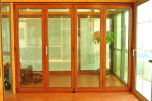 Aluminium Bi Folding Door Wood Color with Single Double Glass pictures & photos