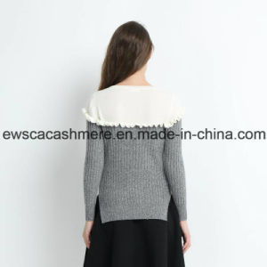 2 Colors Women Pure Cashmere Sweater with Falbala pictures & photos
