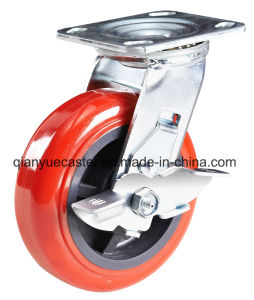Red PU Plastic Core Heavy Duty Caster, Swivel Type pictures & photos