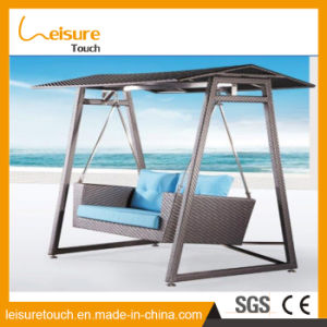 Outdoor Garden Patio Furniture Wicker Hanging Basket Double Rattan Swing Chair pictures & photos