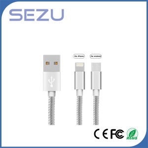 Factory Directly 2 in 1 Data Cable Flexible USB Multi Charger Data Cable for Android and iPhone (Silver) pictures & photos