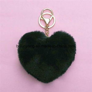 Beautiful Design Heart Shape Fur POM POM Keyring pictures & photos