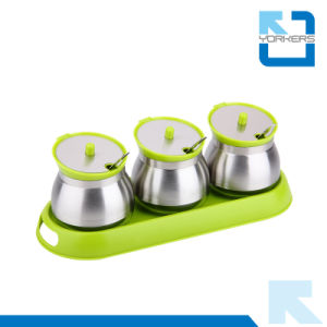 Popular Hot Sell Stainless Steel Pepper/Salt Container & Shaker & Spice Jar Sets with Spoon pictures & photos