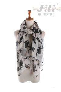 Latest Design New Fashion Voile Animal Kangaroo Printed Scarf for Lady