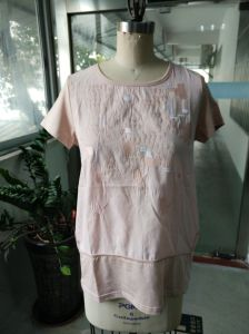 Summer Linen Comfortable Breathable Pink Fashion T-Shirt pictures & photos