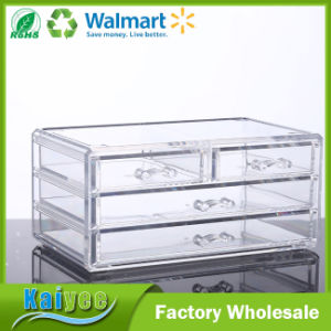 3 Tiers 4 Drawers Clear Jewelry Makeup Storage Organizer pictures & photos