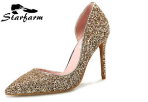 Golden Color Glitter Drill Women Shoes