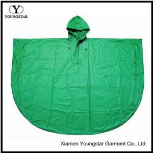 Round Shaped Rain Cape Green Color PVC Adult Rain Poncho pictures & photos