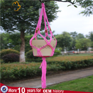Lady Deco Home Craft Rope Handmade Pink Color Flower Pot Holder Indoor pictures & photos