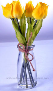 Vivid Artificial Tulip in Glass with Faux Water for Any Public Decoration pictures & photos
