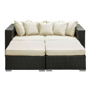 Pool Beach Holiday Resort Garden Furniture Rattan Double Daybed Lounger Sofa Chair pictures & photos
