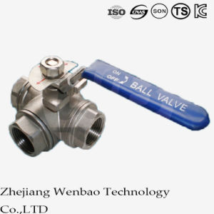 Three Way Reduced Port Medium Temperture Ball Valve with Handle pictures & photos