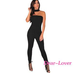 Fashion Black Strapless Choker Jumpsuit pictures & photos