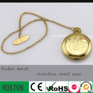 Gold Stainless Steel Case Pocket Watch with 30m