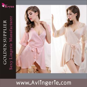 Sheer Transparent Lace Gown Intimate Sleepwear Lady Sexy Lingerie (KLB1-153)