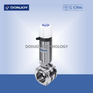 Ss 304 Dn40 Pneumatic 3PCS Butterfly Valve with Mini C-Top Controller pictures & photos