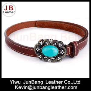 Fashion Ladies PU Leather Belts with Turquoise Stones pictures & photos