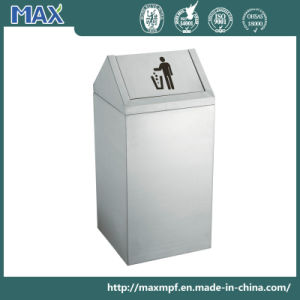 Swing Lid Square Stainless Steel Stocked Waste Bin for Public pictures & photos