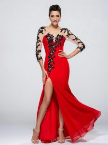Long Sleeve Red Party Formal Evening Dress