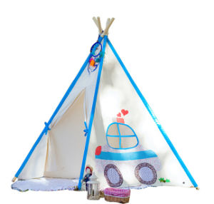 Bright Blue Car Printed Teepee Kids Playing Tent (MW6027) pictures & photos