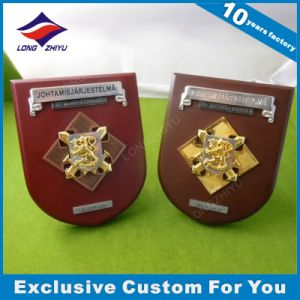 3D Gold Lion Metal Wooden Trophy Custom Logo Embossing Wood Plaque pictures & photos