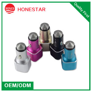 Stainless Steel Material Double USB Car Mobile Charger for Smartphone pictures & photos