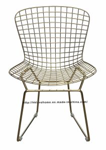 Modern Dining Restaurant Knock Down Metal Gold Wire Chair pictures & photos