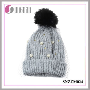 2016 Multicolor Pearl Rhinestone Ladies Elegant Mesh Knitted Wool Hats pictures & photos