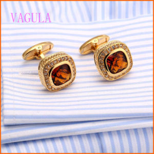 VAGULA Gold Plated Champagne Zircon Copper Cufflinks pictures & photos