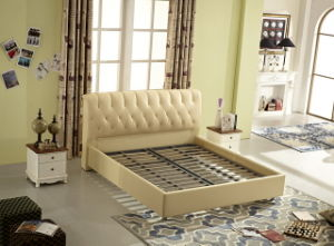 China Factory Manufacture King Size Nice Soft Leather Upholstery Bed pictures & photos